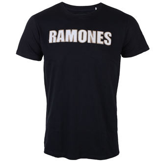 Herren T-Shirt Metal Ramones - Logo & Seal Applique Slub - ROCK OFF - RAAPSLUB01MN