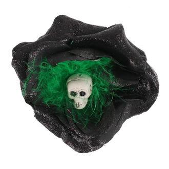 Haarspange Schädel - Schwarz / Grün Gefieder