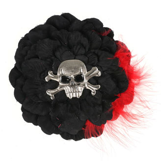 Haarspange Schädel - Schwarz/ Rot Gefieder