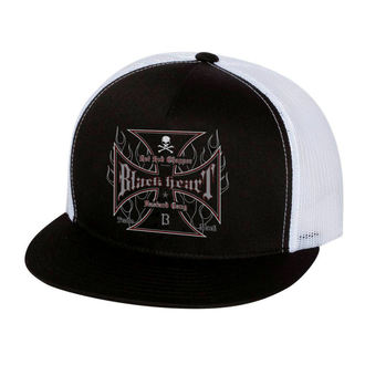Cap BLACK HEART - HOT ROD FLAMES - WEISS, BLACK HEART