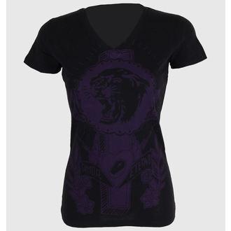 Damen T-Shirt SOMETHING SACRED - Tiger Cross One color V-Ausschnitt, SOMETHING SACRED