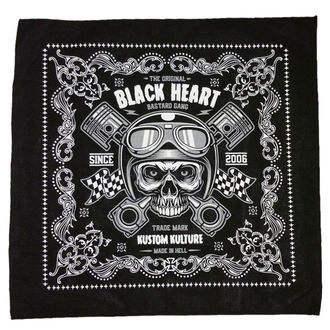 Halstuch BLACK HEART - PISTON SKULL - SCHWARZ, BLACK HEART
