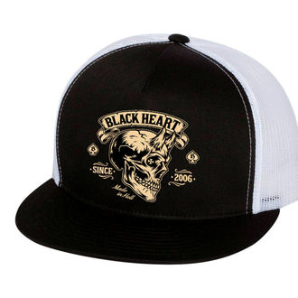 Cap BLACK HEART - DEVIL SKULL - WEISS, BLACK HEART