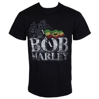Herren T-Shirt   Bob Marley - Distressed Logo - Black - ROCK OFF, ROCK OFF, Bob Marley