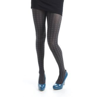 Strumpfhose PAMELA MANN - Opaque Dogtooth Tights - Grey, PAMELA MANN
