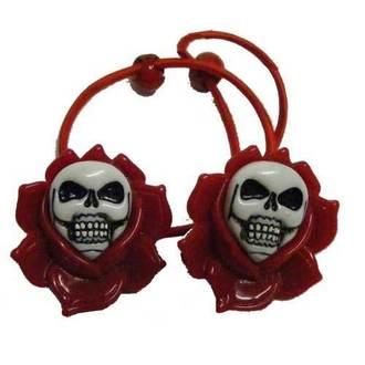 Haargummi   KREEPSVILLE SIX SIX SIX - Skull Rose - Red, KREEPSVILLE SIX SIX SIX
