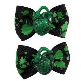 Haarspangen KREEPSVILLE SIX SIX SIX - Hair Bow Heart - Green, KREEPSVILLE SIX SIX SIX