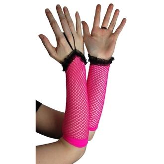 Armstulpen POIZEN INDUSTRIES - NLLG Long Fishnet Lace Trim - Pink