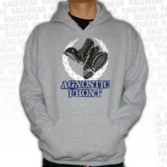 Herren Hoodie  Agnostic Front - Against The World - Grey - RAGEWEAR, RAGEWEAR, Agnostic Front