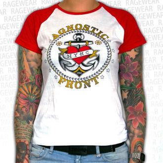Damen T-Shirt Agnostic Front - Anchor - Red/White - RAGEWEAR, RAGEWEAR, Agnostic Front