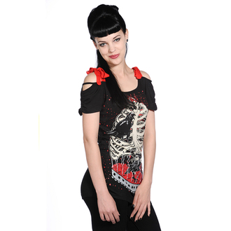 Damen T-Shirt  (Top) BANNED - Bird In Skeleton Cage - Black, BANNED