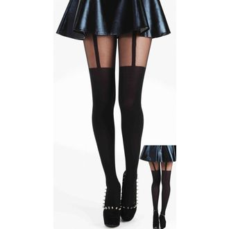 Strumpfhose PAMELA MANN - Plain Stripe Suspender Tights - Black, PAMELA MANN