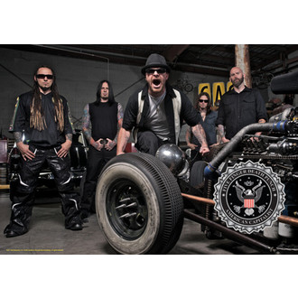 Fahne Five Finger Death Punch - Band Foto , HEART ROCK, Five Finger Death Punch