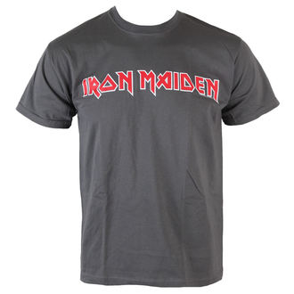 Herren T-Shirt Iron Maiden - Classic Logo - Charcoal - ROCK OFF, ROCK OFF, Iron Maiden