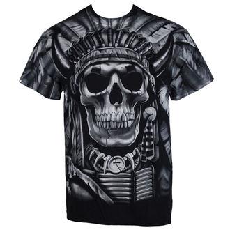 Herren T-Shirt  Indian Skull - BLK - LIQUID BLAU, LIQUID BLUE