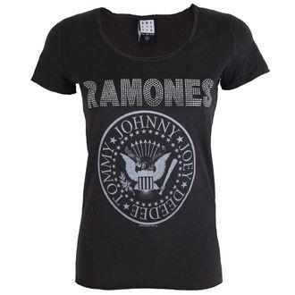 Damen Metal T-Shirt Ramones - LOGO SILVER DIAMANTE - AMPLIFIED, AMPLIFIED, Ramones