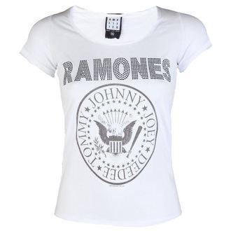 Damen T-Shirt Ramones LOGO DIAMANTE AMPLIFIED AV601RLW, AMPLIFIED, Ramones
