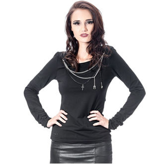 Damen T-Shirt Gothic and Punk  - Schwarz und Silber - QUEEN OF DARKNESS, QUEEN OF DARKNESS