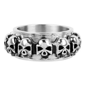 Ring INOX - skulls around, INOX