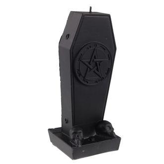 Kerze Sarg mit Pentagramm - Black Matt