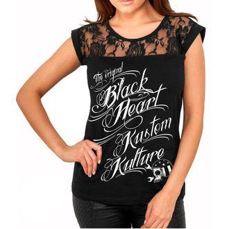Damen T-Shirt Street - KUSTOM KULTURE - BLACK HEART, BLACK HEART