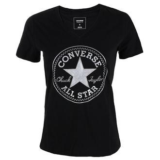 Damen Street T-Shirt  - Metallic Chuck Patch Vneck - CONVERSE, CONVERSE