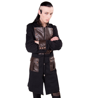 Herren Mantel  Aderlass - Steam Punk Coat Denim Black-Brown, ADERLASS