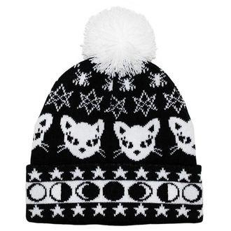 Wintermütze  TOO FAST - WITCHY WOMAN BLACK CAT & MOONS POM POM, TOO FAST