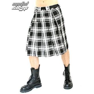 Kilt Black Pistol - Short Kilt Tartan Black-White, BLACK PISTOL
