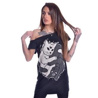 Damen T-Shirt - YING YANG KITTY OFF SHOULDER - HEARTLESS, HEARTLESS