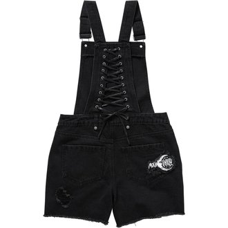 Kurze Latzhose Damen KILLSTAR - MANY MOONS DENIM - SCHWARZ, KILLSTAR