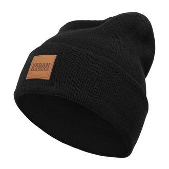 Beanie Mütze URBAN CLASSICS - Leatherpatch - schwarz, URBAN CLASSICS