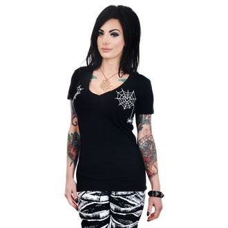 Damen T-Shirt Gothic Punk - HEART SPIDER WEBS - TOO FAST, TOO FAST
