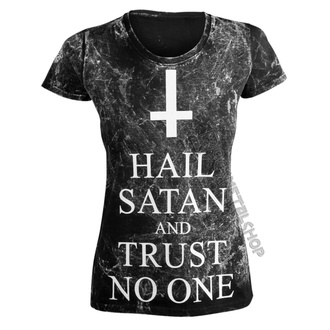 Damen T-Shirt Hardcore - HAIL SATAN AND TRUST NO ONE - AMENOMEN, AMENOMEN