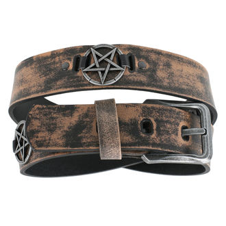 Gürtel Pentagramm - brown, JM LEATHER