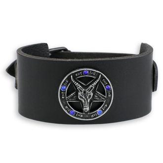 Armband Baphomet - black - kristall blau, JM LEATHER