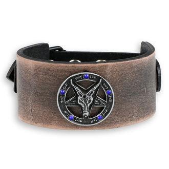Armband Baphomet - brown - kristall blau, JM LEATHER
