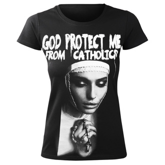 Damen T-Shirt Hardcore - GOD PROTECT ME FROM CATHOLICS - AMENOMEN, AMENOMEN