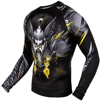 Herren Thermo T-Shirt Venum mit langen Ärmeln - Viking 2.0 Rashguard - Schwarz/Gelb, VENUM