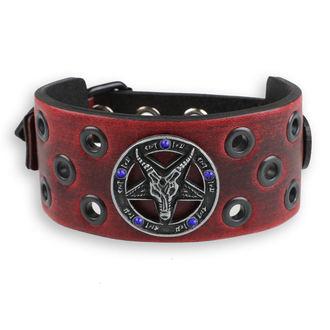 Armband Baphomet - red - kristall blau, JM LEATHER