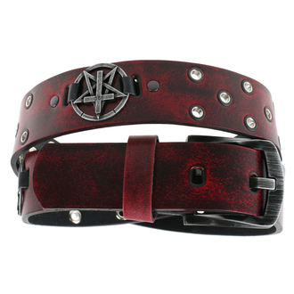 Gürtel Pentagramm Kreuz - red, JM LEATHER
