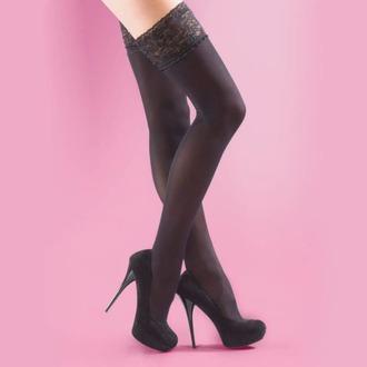 Halterlose Strümpfe LEGWEAR - 40 denier opaque lace top hold ups - schwarz, LEGWEAR