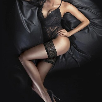 Halterlose Strümpfe LEGWEAR - Ultra gloss lace top hold ups - Kaum schwarz, LEGWEAR